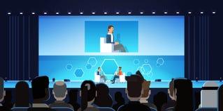 Affärsman på den offentliga intervjukonferensen som framme möter av stora åhörare royaltyfri illustrationer