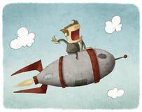 Affärsman på en raket och ett flyg stock illustrationer