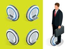 Affärsman på En-rullade Själv-balansera isometriska illustrationer för elektrisk sparkcykelvektor Intelligent och trendigt Arkivfoto