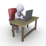 Affärsman på kontoret med bärbara datorn Arkivbild
