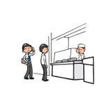 Affärsman på que i kafeteria vektor illustrationer