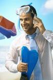 Affärsman på stranden Arkivbilder