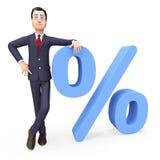 Affärsman With Percent Indicates Företag handel och varor Royaltyfria Bilder