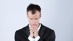 Affärsman Praying To God Royaltyfri Foto