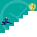 Affärsman Running On Stairs till trofén Royaltyfria Foton