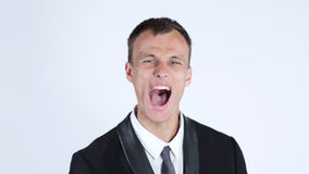 Affärsman Screaming, vit bakgrund Royaltyfri Fotografi