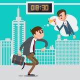 Affärsman sent för arbete Ilsket framstickande som skriker i megafon stock illustrationer