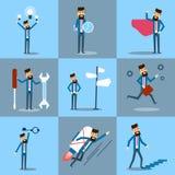 Affärsman Set, affärsman i röd fullvuxen arbetsdagsamling vektor illustrationer