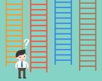 Affärsman som är förvirrad till att välja som stege som gör beslut b stock illustrationer