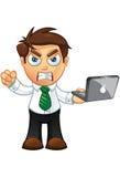 Affärsman - som är ilsken med bärbar dator Arkivfoton