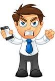 Affärsman - som är ilsken med mobil Royaltyfria Bilder