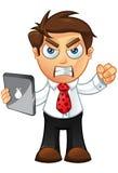 Affärsman - som är ilsken med tableten Arkivfoton