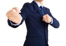 Affärsman som är klar att slåss arkivfoto