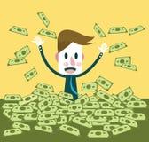 Affärsman som är lycklig med mycket dollarsedel Arkivfoton