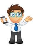 Affärsman - som är osäker med mobil Royaltyfri Bild