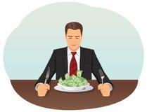affärsman som äter pengar vektor illustrationer