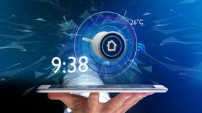 Affärsman som över rymmer en knapp av en smart hem- automation app Arkivbilder