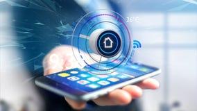 Affärsman som över rymmer en knapp av en smart hem- automation app Royaltyfria Foton