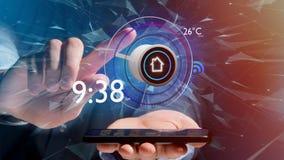 Affärsman som över rymmer en knapp av en smart hem- automation app Royaltyfri Foto