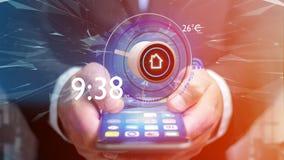 Affärsman som över rymmer en knapp av en smart hem- automation app Royaltyfri Bild