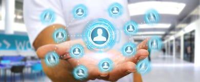 Affärsman som använder den blåa sociala tolkningen för nätverk 3D Royaltyfri Bild