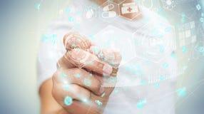 Affärsman som använder den digitala medicinska sfären med en tolkning för penna 3D Royaltyfri Foto