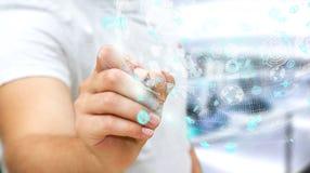 Affärsman som använder den digitala sfären för hologramdata med en penna 3D r Arkivfoton