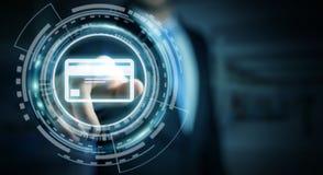 Affärsman som använder den digitala tolkningen för betalningmanöverenhet 3D Royaltyfri Foto