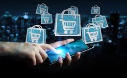 Affärsman som använder den digitala tolkningen för shoppingsymboler 3D Arkivfoton