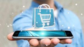 Affärsman som använder den digitala tolkningen för shoppingsymboler 3D Fotografering för Bildbyråer
