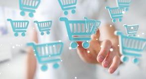 Affärsman som använder den digitala tolkningen för shoppingsymboler 3D Royaltyfri Bild