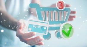 Affärsman som använder den digitala tolkningen för shoppingsymboler 3D Arkivbilder