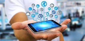 Affärsman som använder den moderna digitala elektroniska strömkretsen med symbolsnolla Royaltyfria Bilder
