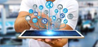 Affärsman som använder den moderna digitala elektroniska strömkretsen med symbolsnolla Royaltyfri Foto