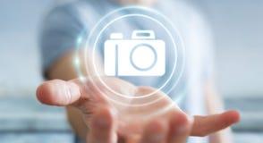 Affärsman som använder den moderna tolkningen för kameraapplikation 3D Arkivbild
