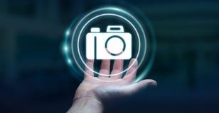 Affärsman som använder den moderna tolkningen för kameraapplikation 3D Royaltyfri Foto