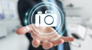 Affärsman som använder den moderna tolkningen för kameraapplikation 3D Royaltyfria Foton