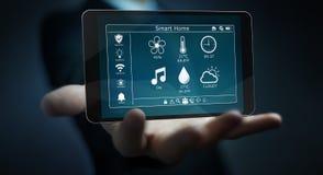 Affärsman som använder den smarta hem- tolkningen för avlägsen apparat 3D stock illustrationer