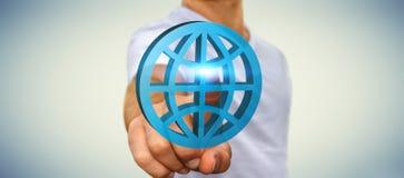 Affärsman som använder digital internetapplikation Arkivbild