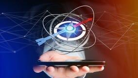 Affärsman som använder en navigeringkompass på en smartphone - 3d ren Royaltyfri Bild