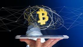 Affärsman som använder en smartphone med Bitcoin en crypto valutasi Arkivbild