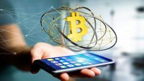 Affärsman som använder en smartphone med Bitcoin en crypto valutasi Fotografering för Bildbyråer