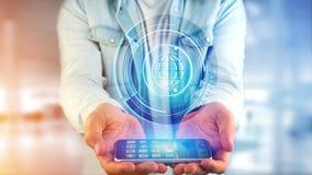 Affärsman som använder en smartphone med ett technologic jordklot b för Shinny Royaltyfria Foton