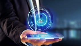 Affärsman som använder en smartphone med ett technologic nätverk för Shinny Royaltyfri Bild