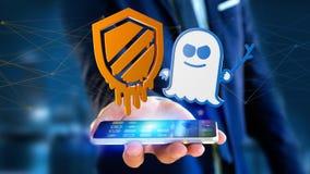 Affärsman som använder en smartphone med en härdsmälta- och spökbildproce Arkivfoto