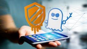 Affärsman som använder en smartphone med en härdsmälta- och spökbildproce Arkivbilder