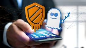Affärsman som använder en smartphone med en härdsmälta- och spökbildproce Royaltyfri Foto