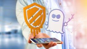 Affärsman som använder en smartphone med en härdsmälta- och spökbildproce Arkivfoton