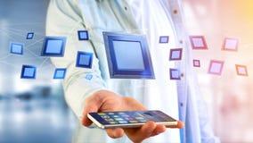 Affärsman som använder en smartphone med en processorchip och nätverk Arkivfoton