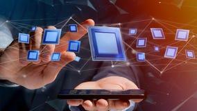 Affärsman som använder en smartphone med en processorchip och nätverk Arkivbilder